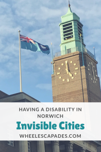 An image that you can click on to Pinterest this post. There is a photo of Norwich City Hall clock tower with the title text placed over.