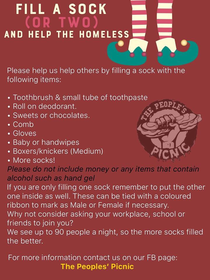 A poster explaining how to fill a sock. Fill one sock with essential items for example, toothpaste toothpaste, chocolates, gloves, pants, roll on deodorant. Place the spare sock inside too. Tie up with a colour depending on intended gender.