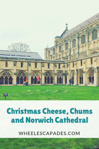 An image to pin. Norwich cathedral cloisters, title text is placed over top