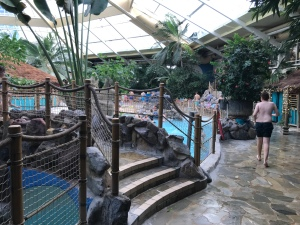 Different areas of the pool accessible by bridges.