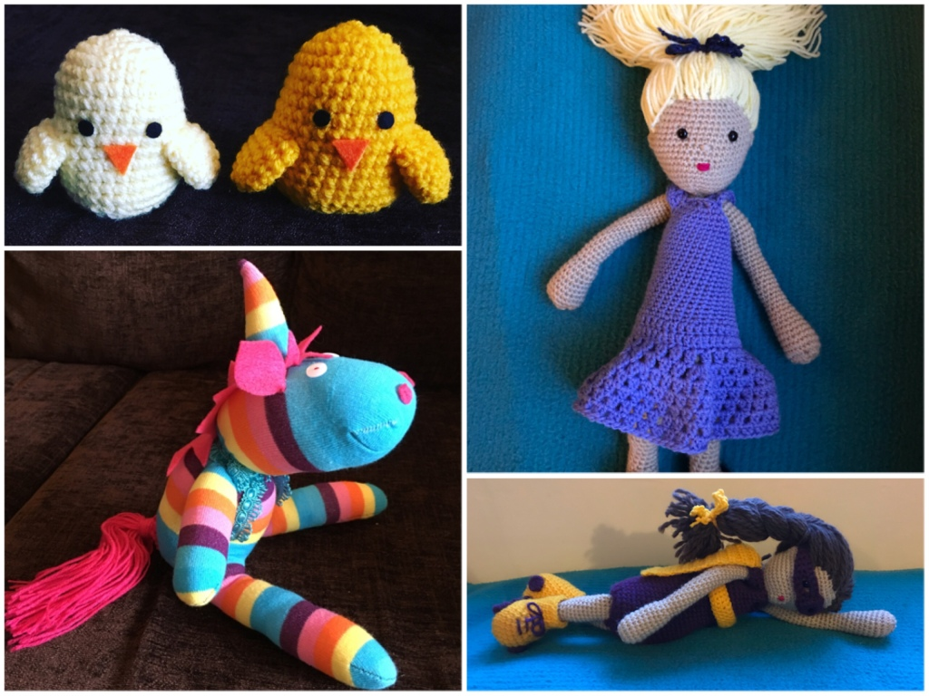 A collage of craft projects I have made including a sock unicorn, a crochet superhero doll and crochet ducks