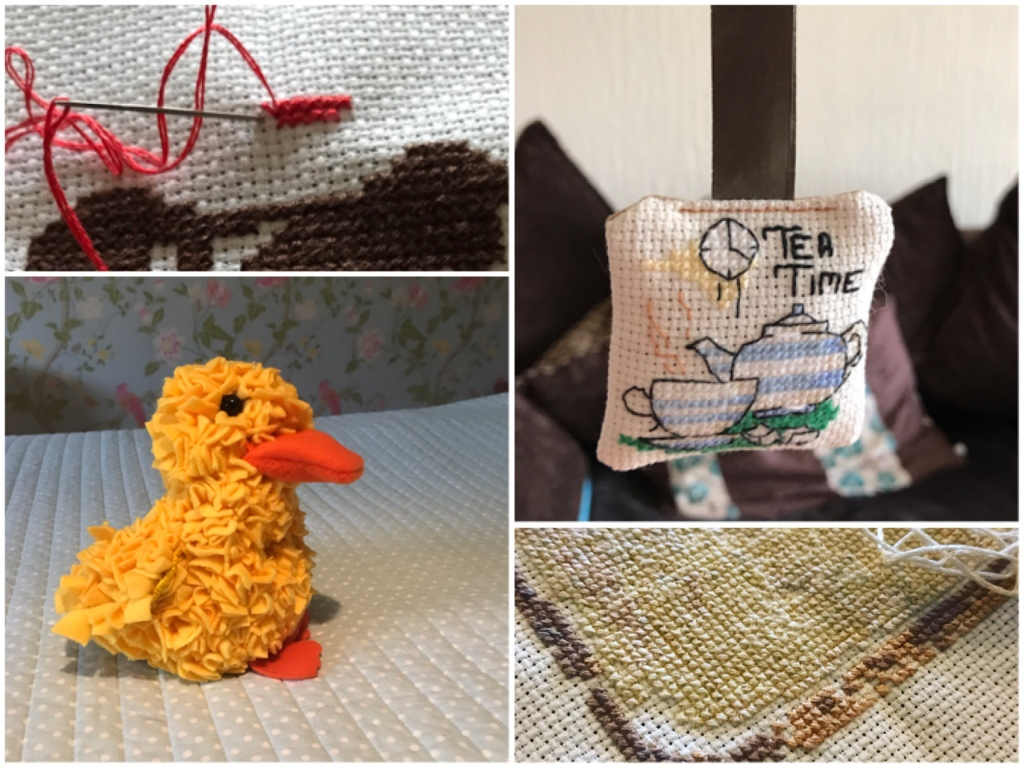 Another collage of some finished and unfinished crafts. A cross stitch key ring with an image of a tea cup and the words tea time. A large yellow duck make by progging, similar to rug making