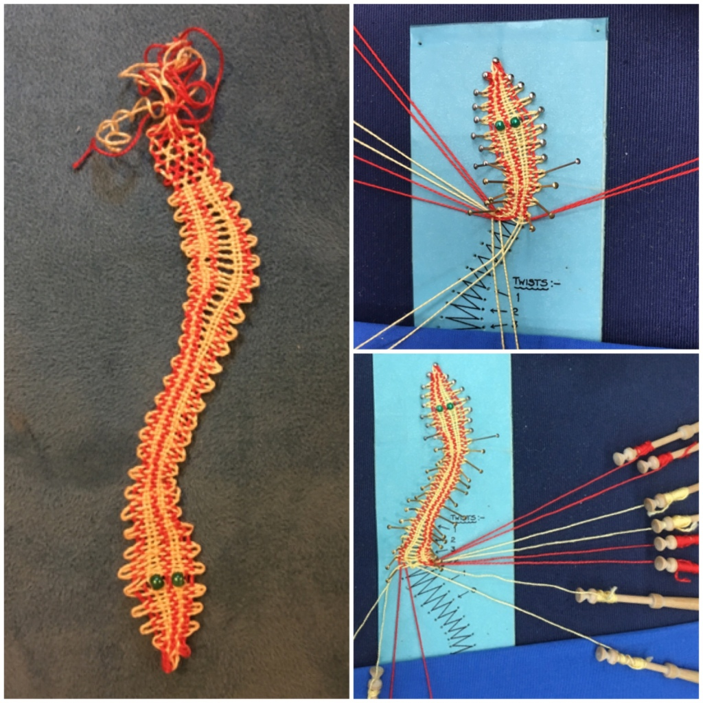 A collage of photos from my lace making class. On the left you can see a lace snake I made. On the right you can see threads and pins.