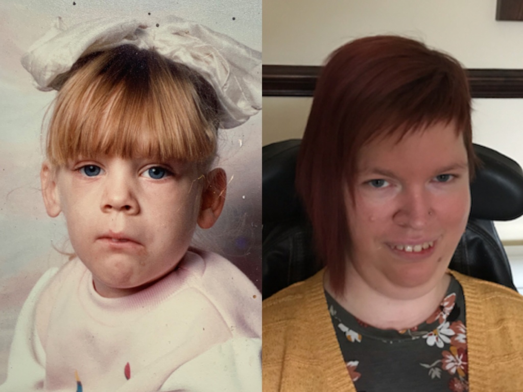 A split image with a photo of me aged around 3-4 and a photo of me aged 34. Today.