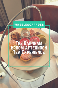 An image to pin. The view looking down on to the desserts, title text is placed over. The Barnham Broom Afternoon Tea Experience.