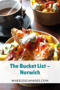 An image to pin. A photo of my bucket of chips with the title text. The Bucket List Norwich