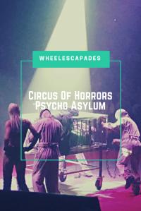 An image to pin. Photo of man in cage with escaped asylum patients around him. Title text is placed over. Circus Of Horrors Psycho Asylum.