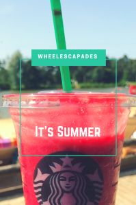 An image to pin. A Starbucks plastic cup with a green straw. The cup is filled with red iced liquid. In the background is a beach with people in the distance. Title text It's Summer is placed over the image.