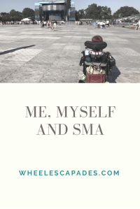 An image to pin. Large text reads 'Me, Myself and SMA'. At the top is a photo with me in the right corner, my back facing the camera. I am looking out at a stage with an almost empty audience.