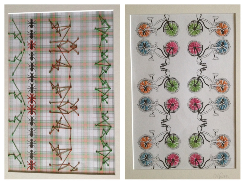 Two images from the picnic book I worked on. The left image is of a tartan blanket style background with rows of ants placed over. I stitch onto the paper images creating lines of thread as connections. The second image is a repeat pattern of a bicycle flipped in a mirror image all over the page. The background is white and I have stitch brightly coloured lines over the spokes in the bike wheels.