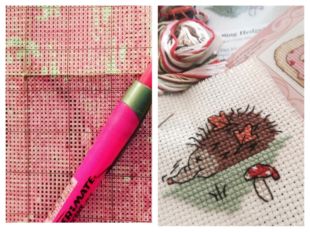 On the left is a close up of a paper cross stitch chart. I have highlighted the completed areas. On the right is a small cross stitch hedgehog.