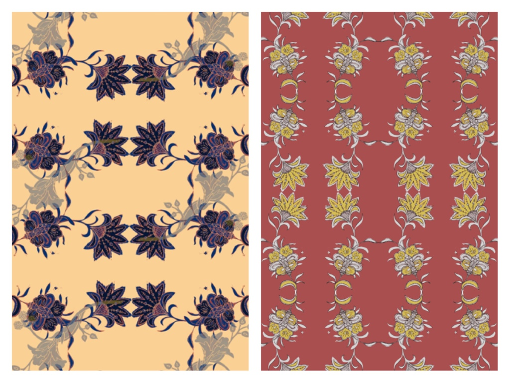 On the left a floral drawing repeated to create a pattern. The background is an apricot yellow with the purple design. On the right is a floral pattern with a dark red background and yellow and grey pattern.