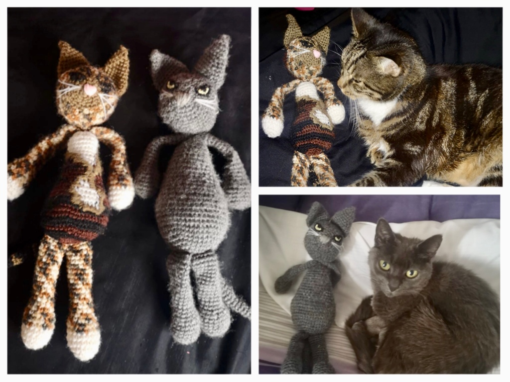 On the left are two crochet cats. On grey and one tabby. On the right are photos of the real life cats with their crochet lookalikes.
