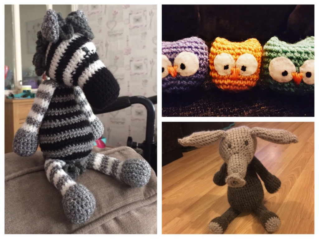 Three images of stuffed crochet animals. I stripy grey white and black zebra, a brown and cream aardvark, and a row of three brightly coloured mini owls.