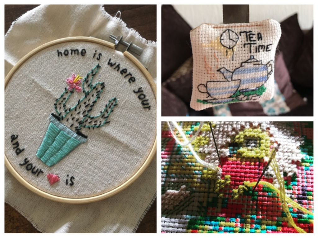Three images of embroidery. On the left is an embroidery hoop with fabric in, on it is stitched a cactus in a pot. The stitched text reads 'home is where your... and your heart is'. The bottom right image is a close up of a needle in a colourful cross stitch. The top right image is of a teapot and cup, it says 'tea time'. The cross stitched design is made into a tiny hanging cushion.