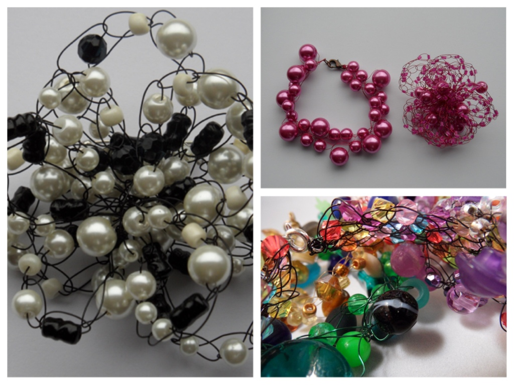 A group of three images. The bottom right is a close up of a tangle of threaded beads in bright colours. The top right is a pink bracelet and brooch made from pearl style bright pink beads. The left image is a close up of a brooch made with delicate black and white beads.