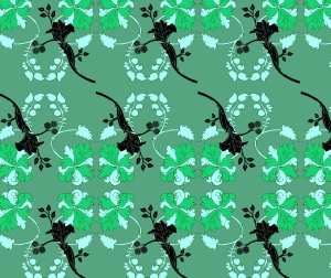 This is a more curvy floral pattern in green and pale mint green. There are also black flowers placed over to create depth to the pattern.
