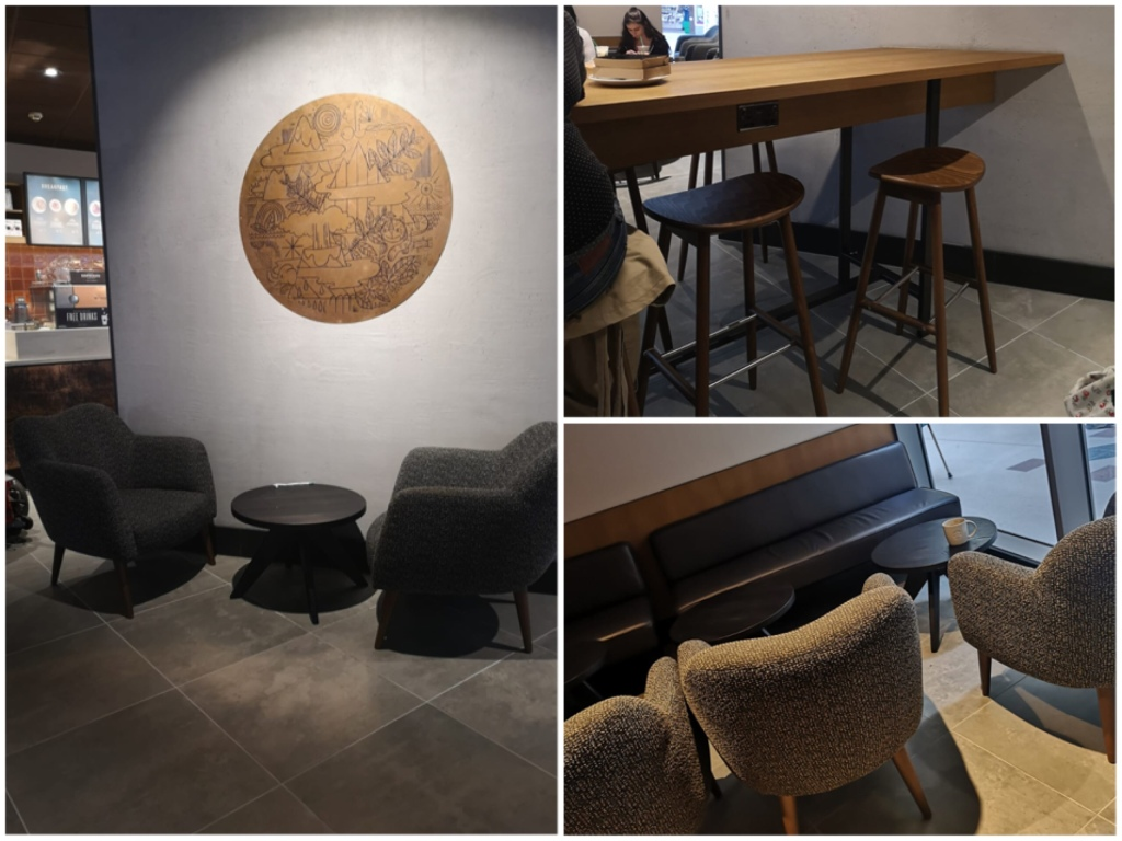 Three photos of tables in Starbucks. On the left two low armchairs with a small low coffee table in between. On the top right is a row of bar stools at a high bench table. On the bottom right is a row of low armchairs with coffee tables. All the seats shown are empty.