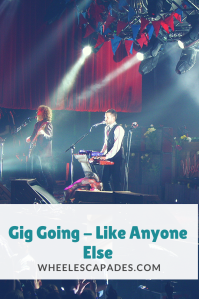An image to pin. Title text 'Gig Going - Like Anyone Else' is placed over a photograph taken of The Killers on stage.