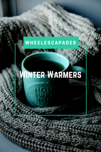 An image to pin. The title text 'Winter Warmers' is placed over a blue mug of tea and a great wooden blanket.