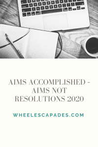 An image to pin. The title text - Aims Accomplished – Aims Not Resolutions 2020, at the bottom. A photo of notebook, laptop and coffee cup.