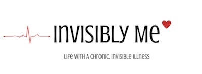 The Invisibly Me logo. A pulse line with the text Invisibly Me, Life With A Chronic, Invisible Illness. There is a red heart at the end.