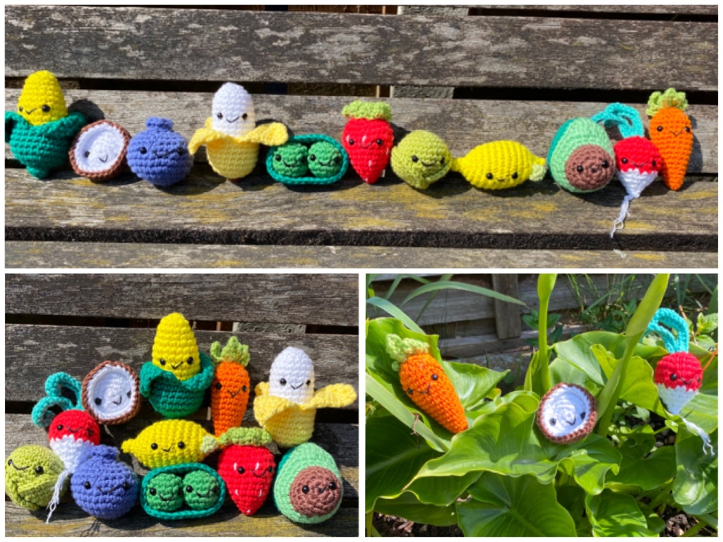 Three images of my crocheted characters. At the top they are all sitting in a row on the bench. On the left they are piled up on top of each other, on the right they a hidden in leaves. Each character is about 8-10 centimetres in height. They include a banana, sprout, peas, blueberry, strawberry, avocado, coconut, radish, sweetcorn and carrot.