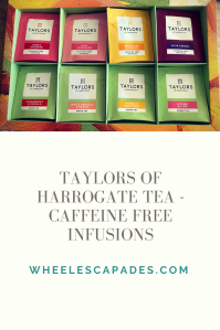 Same image of tea selection box as above is at the top third of this pinterest image. Title text Taylors Of Harrogate Tea - Caffeine Free Infusions is below in grey on a cream background.