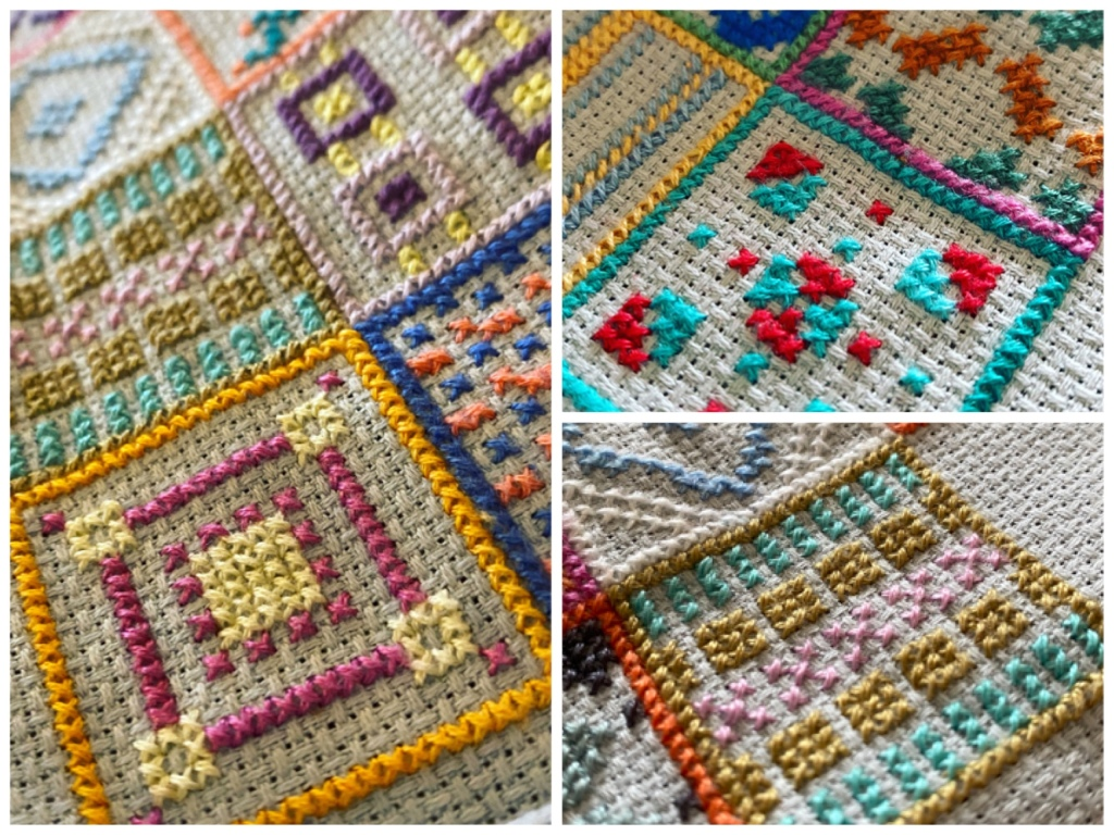 Close up of three cross stitch designs. They are geometric and symmetrical repeat patterns in contrasting bright colours.