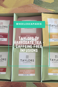 Title text Taylors Of Harrogate Tea - Caffeine Free Infusions is placed over a close up photo of the tea selection box. An image to pin.