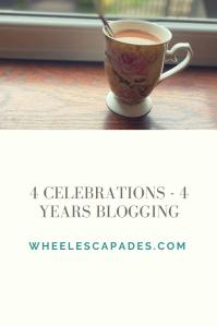 An image to pin. Title text 4 Celebrations - 4 Years Blogging is in grey on a cream background. A photo of a floral cup of tea on a windowsill takes up the top third of the image.