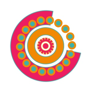 The new chosen logo for my blog. It's a circular design in pink, orange and turquoise.