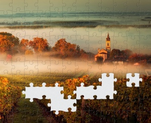 A screenshot of my puzzle app. A misty scene with a church in the distance. Some of the jigsaw pieces are missing.