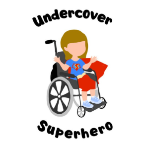 Logo for Ami's blog Undercover Superhero. It is a cartoon image of a girl in a superhero outfit and cape sitting in a manual wheelchair.