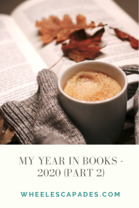 Title text My Year in Books 2020 (part 2) is in grey text on a cream background. Above is an image of an open book with hands holding a mug or dark liquid.