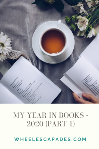 An image to pin. Title text My Year in Books - 2020 (part 1) is it grey text on a cream background. Above is a photo of a teacup and saucer with open books.