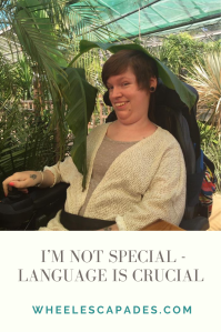Title text I'm Not Special - Language is Crucial, is in grey on a cream background. There is a portrait of myself with sort brown hair beside a giant tropical plant and a large leaf on my head.