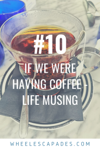 An image to pin. Title text If we were having coffee is placed over an image of a mug filled with dark liquid sitting on a white marble table.
