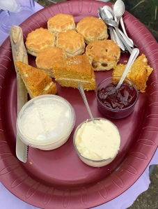 A dark red tray filled with slices of cake, scones and tubs of jam and cream.