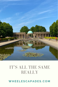 Am image to pin. Title text It's All The Same Really is at the bottom in grey text on a cream background. The same photo of Eaton Park lake is above.