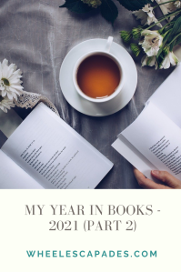 An image to pin. Title text 'My Year In Books - 2021 (part 2) is in grey text on cream background at the bottom half of image. The top is a photo with a tea cup central and open books around it.