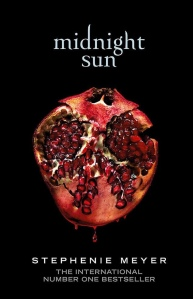 Book cover for Midnight Sun. There is a start black background with a cut slice of bright red pomegranate in the centre. Title and author text is in white.