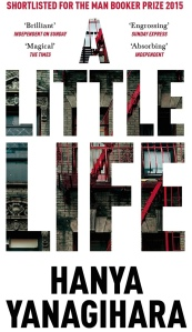 A Little Life book cover. The background is white. The title text is very large filling the page and is like a cutout, with the imagery being inside the letters. Glimpses of walks, apartments building and outside staircases.