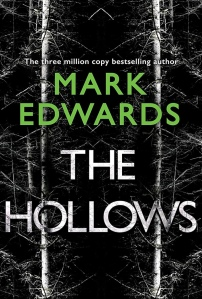 The Hollows book cover. A black and white photo between never ending trees filles the page. The title text is also shaded black and white, with the author's name bright green.